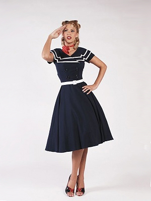 Betty Paige Captain flare dress blue