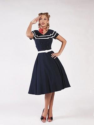 Betty Paige Captain flare dress blue