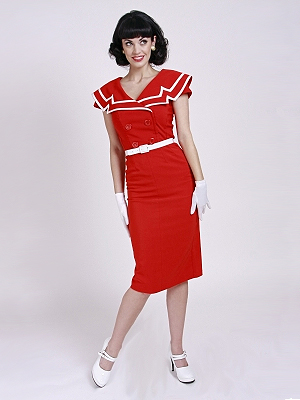 Betty Paige Red Captain pencil dress