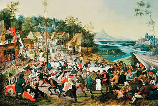 Pieter Brueghel the Younger painted a Maypole dance