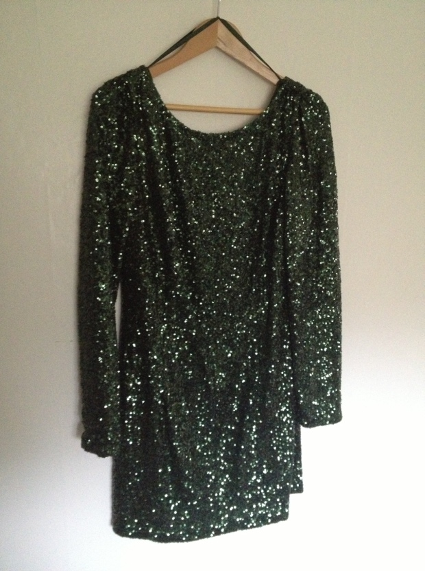 green sequin dress